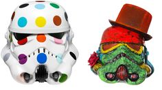 Damien Hirst's Spot-painted Art Wars Stormtrooper Helmet and Acrylic-capped ABS Storm Trooper head painted by David Bailey