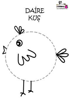 ŞEKİLLERLE KUŞLAR - KIRTKIRTLA Preschool Writing, Numbers Preschool, Preschool Activities, Things To Do Tomorrow, Pre K Worksheets, Preschool Coloring Pages, Painting Activities, Reggio Emilia, Cute Images