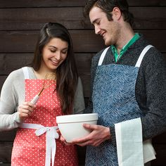 Make His and Hers Aprons with the aid of you serger and sewing machine! | Happy National Serger Month from Baby Lock!