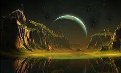 Terra, a Lua do planeta imaginário.