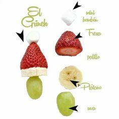 Picdera de frutas en forma de Santa