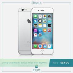 ¡¡¡IMPERDIBLE iPhone 6 16GB a $9.500!!!  La Plata tiene cosas que la vuelven única, sus diagonales, sus hermosas plazas y los precios inigualables de IMPORT LA PLATA. Garantía escrita / Se retira por nuestra oficina comercial en La Plata / Consultas por INBOX o Whatsapp 022-136-14436  iPhone 5s 16 3g $7.400 iPhone 6 16 $11.500 iPhone 6 64 $13.000 iPhone 6s 16 $13.500 iPhone 6s 64 $15.300 iPhone 6 plus 16 $12.700 iPhone 6 plus 64 $14.300 iPhone 6s plus 16 $15.000 iPhone 6s plus 64 $17.200…