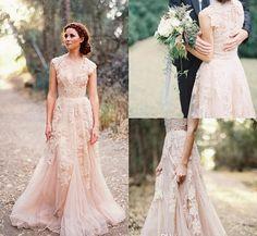 Latest Champagne Nude bride dress V-Neck Cap Sleeve Wedding Dress A-Line Lace Wedding Dress Bridal Gown