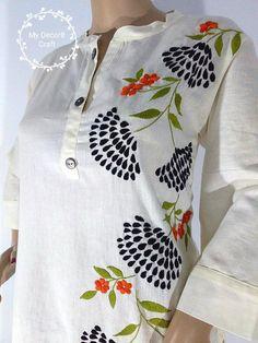 Kurti Kurtis for Women Cotton Kurti Women Kurti Girls Embroidery On Kurtis, Hand Embroidery Dress, Kurti Embroidery Design, Embroidery Neck Designs, Hand Embroidery Videos, Embroidery Patterns, Fabric Paint Shirt, Fabric Painting On Clothes, Painted Clothes