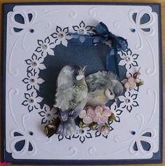 Voorbeeldkaart - Lentevogeltjes - Categorie: Ponsen - Hobbyjournaal uw hobby website 3d Cards, Die Cut Cards, Card Ideas, Christmas Cards, Scrapbooking, Butterfly, Invitations, Bird, Website