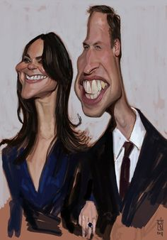 caricature by Alberto Russo Prince William & Catherine Cartoon Faces, Funny Faces, Cartoon Art, Cartoon Characters, Cartoon Drawings, Caricature Artist, Caricature Drawing, Drawing Faces, Funny Caricatures