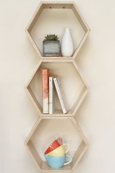 Spring Cleaning & Organization // Natural Finish Floating Honeycomb Shelves: Set of 3