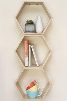 Spring Cleaning & Organization // Natural Finish Floating Honeycomb Shelves: Set of 3