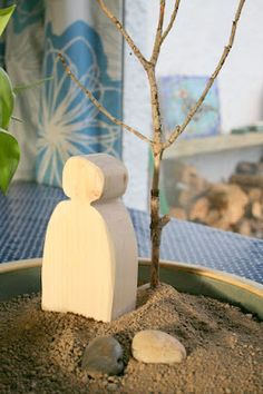 Lent nature table idea - add a stone for each day of lent. Jesus in the desert