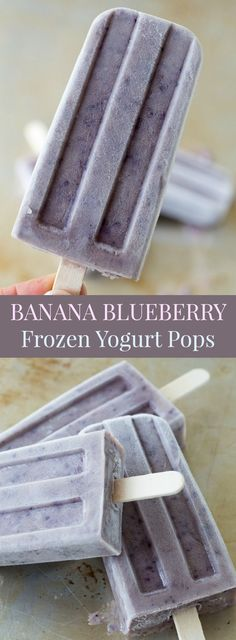 Banana Blueberry Frozen Yogurt Pops - a summer dessert recipe that's even healthy enough for breakfast or a snack, and as easy as blending a smoothie. | http://cupcakesandkalechips.com