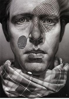 Surreal self portrait drawings by Ian Ingram.