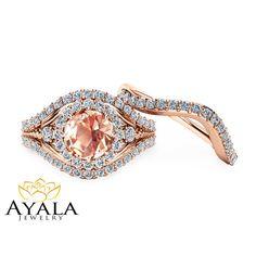 Peach Pink Morganite Bridal Set 14K Rose Gold by AyalaDiamonds