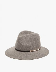From Los Angeles-based Janessa Leone, a carefully crafted, timeless wool felt fedora. Features a black lambskin leather band with a silver bar attachment and a 3 inch brim.   	•	Wool felt fedora 	•	Black lambskin leather band with silver bar 	•	100% W