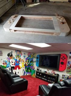 - flatscreen modded to search like a huge Nintendo Switch « mind-boggling On Nintendo Room, Video Game Rooms, Teen Game Rooms, Video Game Bedroom, Boys Game Room, Gaming Room Setup, Gaming Rooms, Gaming Chair, Framed Tv