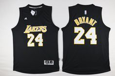 f597620cd53 Los Angeles Lakers #24 Bryant All Black Classic Men 2017 New Logo NBA  Adidas Jersey