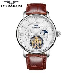 59.99$  Buy now - http://alix2f.shopchina.info/go.php?t=32792877830 - GUANQIN GJ16036 2017 Watches Mens Luxury Top Brand Tourbillon Automatic Sport Watch With Moon Phase Gold Male Leather Wristwatch  #magazineonline