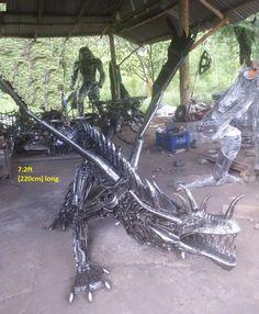 dragon statue life size scrap metal art for sale