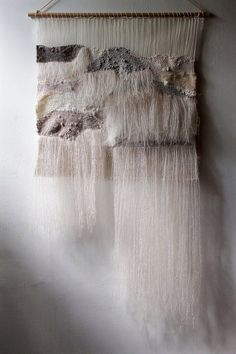 Woven Wall Hanging: Tapestry Weaving in Neutrals with Hand Dyed Wool Yarn, Natural Linen Thread and Mohair