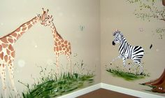 Great Idea for Katie's room. My little Giraffe obsessed girl :) Kids Room Murals, Murals For Kids, Whimsical Nursery, Safari Nursery, Girl Room, Baby Room, Giraffe Bedroom, Kids Zoo, Forest Mural