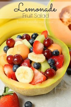 Whether it is for a Mother's Day brunch, of July , or a summer picnic this Lemonade Fruit salad is an easy fruit salad recipe to share with friends and family. The fruit salad recipe is sweetened with lemonade that keeps the fruit from turning brown. Salads For Picnics, Summer Salads With Fruit, Fresh Fruit, Fruit Salad Recipes, Dessert Recipes, Fruit Salads, Picnic Recipes, Picnic Ideas, Picnic Foods