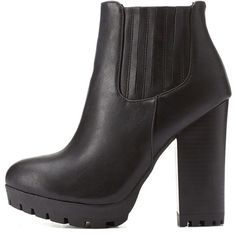 Charlotte Russe Black Bamboo Lug Sole Chunky Heel Chelsea Boots by... ($43) ❤ liked on Polyvore featuring shoes, boots, ankle booties, black, thick heel booties, ankle boots, short boots, black ankle booties and chunky heel booties