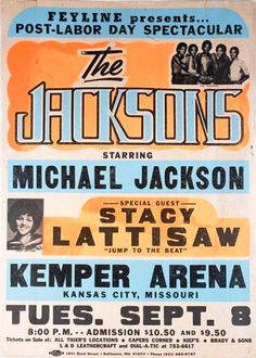 The Jacksons Vintage tour poster from September 8, 1981 starring Michael Jackson, and Special Guest Stacy Lattisaw at the Kemper Arena. (Kansas City, Missouri)