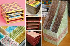 Easy organizer made with cheerios boxes..