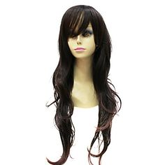 Capless Japanese Kanekalon Dark Brown Long Curly Wig For Women