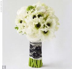 Anemone bouquet- inspiration only- add more green  and add dark blue. burlap and twine- no lace