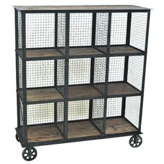 Industrial Metal And Wood Bookcase By Crestview Collection from The Rustic Furniture Store. Saved to Things I want as gifts. Regal Industrial, Industrial Chic Decor, Industrial Interior Design, Industrial Shelving, Industrial House, Rustic Decor, Vintage Shelving, Rustic Wood, Vintage Decor