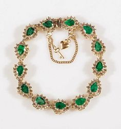 14 kt. Yellow Gold, Emerald and Diamond Bracelet, 13 links, each set with a pear-shaped emerald surrounded by round brilliant cut diamonds, estimated total weight of emeralds 7.0 cts., diamonds 3.12 cts