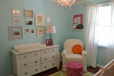 Love the gallery wall in this lovely turquoise nursery!