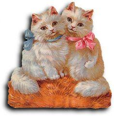 Victorian scrap: 2 Cats by Antique Photo Album Vintage Tags, Vintage Ephemera, Vintage Postcards, Style Vintage, Vintage Prints, Dossier Photo, Cat Cards, Animals Images, Vintage Pictures