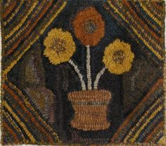 HAND  MADE PRIMITIVE HOOKED RUG ~ OLDE POSIES ~ EARLY STYLE #Primitive
