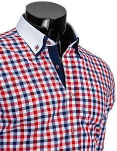 Pánská stylová košile - Rocher, červená kostka