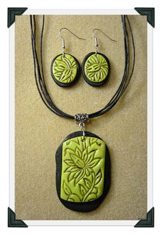 Wasabi green and black earring and necklace set.