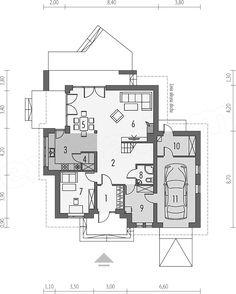 Rzut parteru projektu Amira G1 Modern Bungalow Exterior, Modern Bungalow House, House Plans, Floor Plans, House Design, How To Plan, Arm, Houses, Future