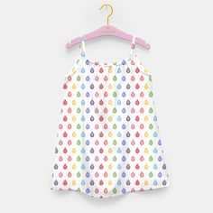 """""""Rainbow raindrops"""" Girl's Dress by @savousepate on Live Heroes #kidsclothing #kidsapparel #pattern #watercolor #abstract  #rain #raindrops #drops #droplets #colorful #multicolor #rainbowcolors #white #red #orange #yellow #green #blue #purple #pink"""