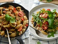 One pot pasta with tomato, bell pepper and white beans
