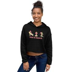 Yoga is Magical Crop Hoodie, Unicorn's doing yoga, Unicorn Yoga Cropped Sweatshirt, Yoga Instructor Gift Cropped Hoodie, Black Hoodie, Singles Awareness Day, Wounded Warrior Project, White Face Mask, Fashion Group, Hoodies, Sweatshirts, Latest Trends