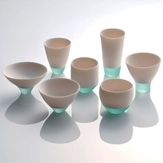 By fusing of porcelain and glass, Misa Tanaka has created some vessels called, Shizukana Sora (Quiet Sky), taking second place in this years Takaoka Crafts Competition in Japan. Shizukana Sora by Misa Tanaka, Second Prize at Takaoka Crafts Competition Glass Ceramic, Ceramic Pottery, Ceramic Art, Ceramic Cups, Porcelain Clay, Cerámica Ideas, Keramik Design, Paperclay, Deco Design