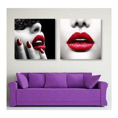 Zestaw Czerwone usta, Obraz na płótnie - Canvas