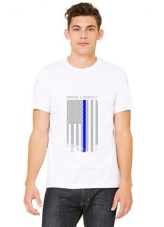 thin blue line american flag honor respect funny T-Shirt