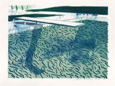 David Hockney - Lithograph of water made of thick and thin lines and two light blue washes
