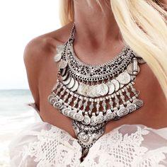 awesome tribal necklace + summer + beach + boho