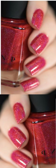 """Closure is a deliciously juicy apple red holographic nail polish stuffed  with holographic incredibleness! There's absolutely nothing like a  fresh coat of ultra sparkly red paint.   Yum!!  Closure is  part of ILNP's new """"Ultra Holo"""" class of super intense holographic nail  polishes; specifically formulated for maximum, in-your-face holographic  sparkle!  #naildesign #nailart #ad #winternails #glitternails"""