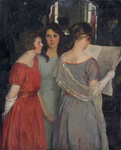 Unknown artist, Portrait of three girls reading
