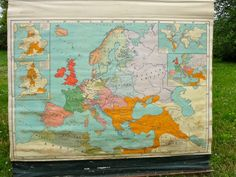 Vintage Pull Down Canvas Map of Europe in by JenniFerociousInk, $174.00