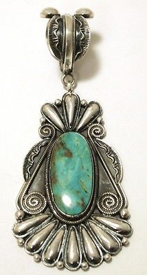 Vintage Navajo Green Fox Turquoise Sterling Silver Pendant - Rick Martinez