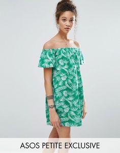 ASOS Petite ASOS PETITE Bardot Off Shoulder Dress in Palm Print